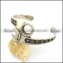 Wrench Bangle with FOREVER 925 SILVER character b003134