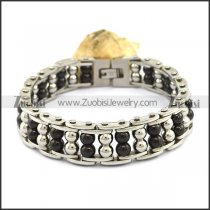 2 Steel Balls 1 line in Silver and next in Black Bike Bracelet b003993