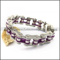 Silver Stainless Steel Bicycle Chain Bracelet with Purple Piece b004131