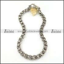 36 More Skull Head Link Necklace in Stainless Steel Necklace with Large Lobster Clasp Closure -n000207