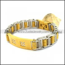 Silver and Gold Plated Steel Bike Bracelet with Squre Rhinestones b003998