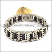 Black and Silver Steel Ball Bike Chain Bracelet b003994
