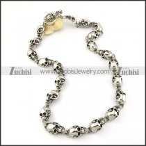 21 Skull Stainless Steel Necklace for Biker -n000197