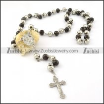 rosary necklace made in black and steel tone round beads -n000275