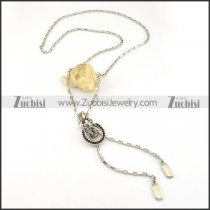 Slide Fastener Chain Necklace in Stainless Steel with Rhinestone Crown -n000235