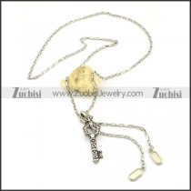 Unique Stainless Steel Zipper Necklace with Key -n000233