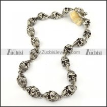 18 Fire Skull Head Stainless Steel Necklace in length of 59.50cm -n000204