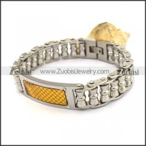 Silver Stainless Steel Bike Chain Bracelet with GP ID Plate b003991