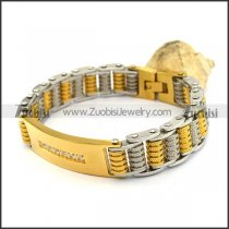 Gold Steel Bicycle Chain Bracelet with Clear Rhinestones ID Plate b004000