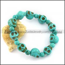 Turquoise Stone Skull Bracelet Joined with Elastic Cord b004086
