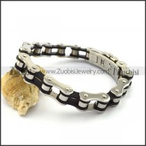 11.5MM Wide Black and Silver Bicycle Chain Bracelet b004132