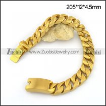 Brushed Gold Plated Bracelet with Box-with-Tongue Buckle b004030