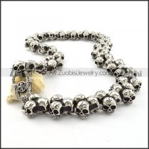 Motorcycle Chain Link Skull Necklace Huge in Stainless Steel -n000202