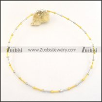 special half gold half silver stainless steel bamboo chain necklace n000496