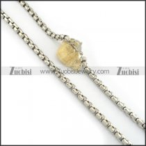 8mm shiny stainless steel pearl chain necklace n000503