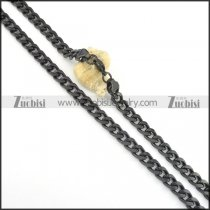 590*5mm black plated flat chain necklace n000511