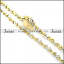 1cm wide gold and silver S shaped stainless steel necklace chain n000524