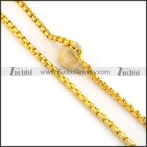 8mm wide shiny gold plating pearl chain necklace n000502