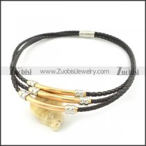 wholesale leather necklace with rose gold stainless steel tube n000453