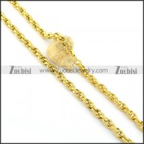 8mm wide all gold plating necklace n000669