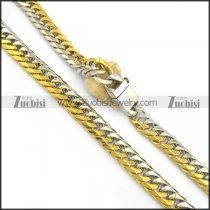 26.4 inch long gold and steel tone necklace with casting buckle n000700