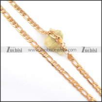 8mm Rose Gold Plating Figaro Chain Necklace n000564