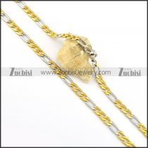 6mm wide mixed 3 gold with 1 steel necklace n000662