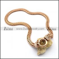 Rose Gold Plating Square Snake Chain Necklace with Casting Buckle n001021