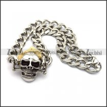 Stainless Steel Curb Chain Necklace with Big Skull Charm n001029