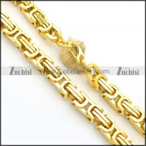 16mm Wide Shiny Yellow Gold Link Chain Necklace n000961