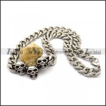 Steel Link Chain Necklace with 3 Skull Pendants n001028