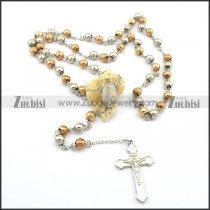 8mm rose gold rosary necklace with cross pendant n000727