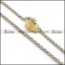 8mm Round Wheat China Necklace in Stainless Steel n001005