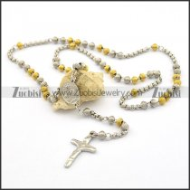 6mm oval spring bead rosary chain with cross n000851
