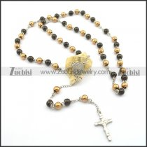 8mm rose gold and black rosary chain necklace n000728
