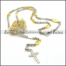 special yellow gold chain necklace with jesus cross pendant n000805