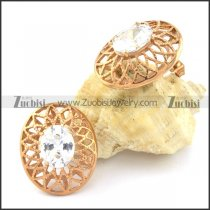 Gold Flower Earrings with Big Clear Facted Zircon Stone -e000559