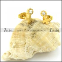 Unique Yellow Gold Cutting Girl Sign Earring in Stainless Steel -e000587