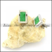 Green Stone Earring in Stainless Steel Metal -e000557