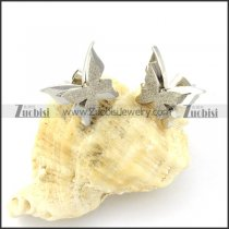 Silver Sand Blasting Butterfly Earring in Stainless Steel -e000532