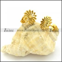 Unique Gold Tone Cutting Flower Earring in Stainless Steel -e000618