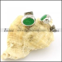 Green Stone Earring in Stainless Steel Metal -e000556