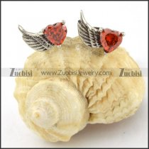 Clear Red Heart Zircon Wing Earring e000408