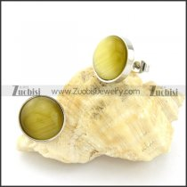 pretty oxidation-resisting steel Cat Eye Stone Earring -e000526