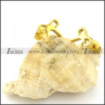 Bowknot Earring in Stainless Steel with Yellow Gold Plated Crafted of Cutting -e000609