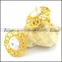 Gold Flower Earrings with Big Clear Facted Zircon Stone -e000558