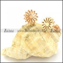 Rose Gold Tone Cutting Flower Earring in Stainless Steel -e000619