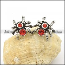 Stainless Steel Red Spider Earrings -e000097