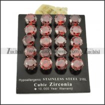 10mm fancy dark red round faceted zircon earrings for women -e000635