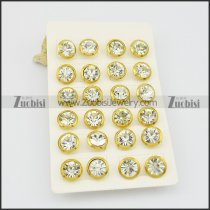 yellow gold stainless steel zircon post earring e000889